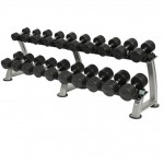 rubber dumbbells and rack
